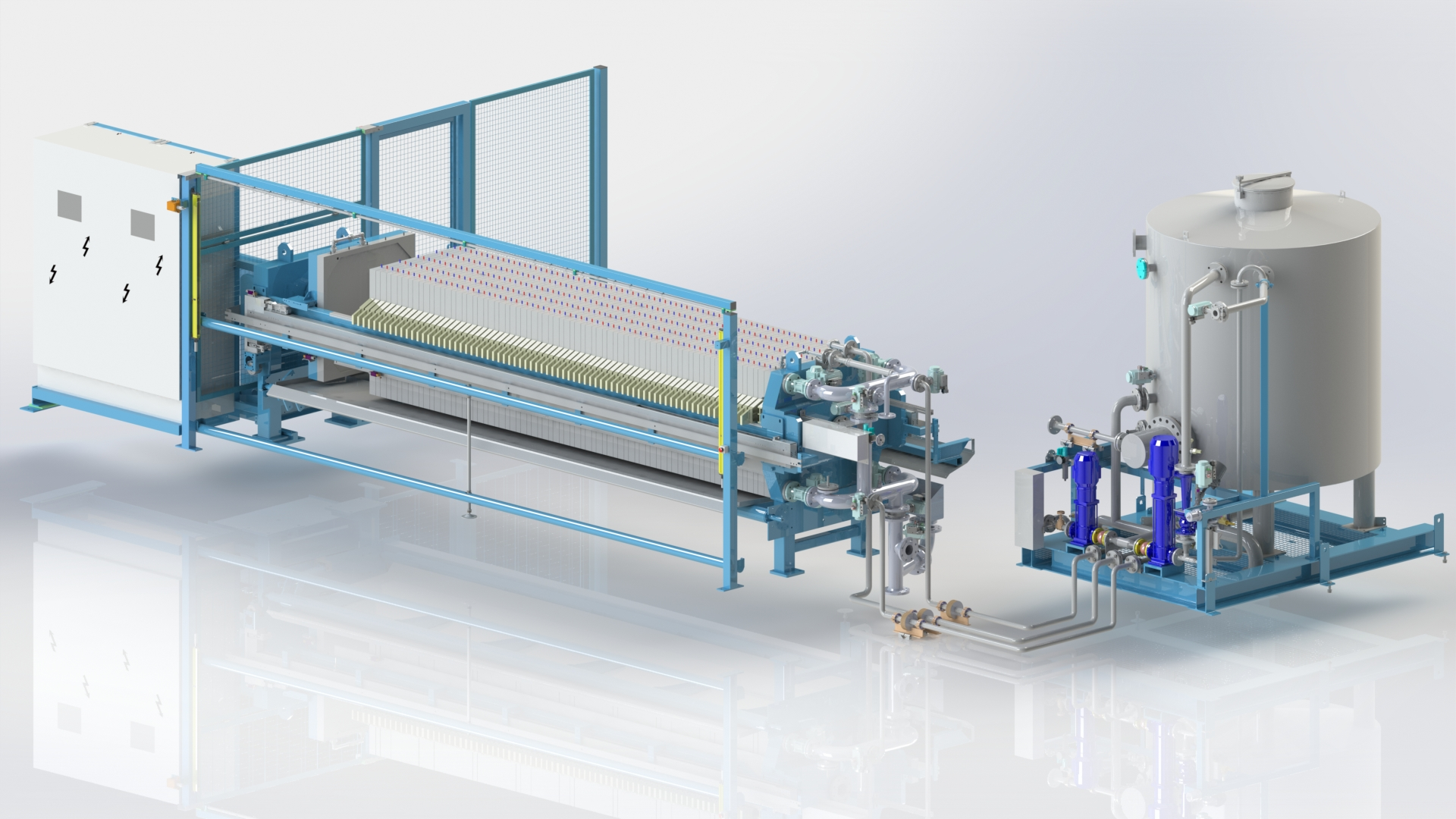 MSE 1000 membrane filter press fully equipped