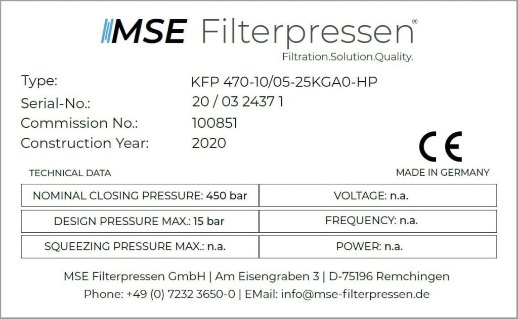 Name plate MSE Filter press