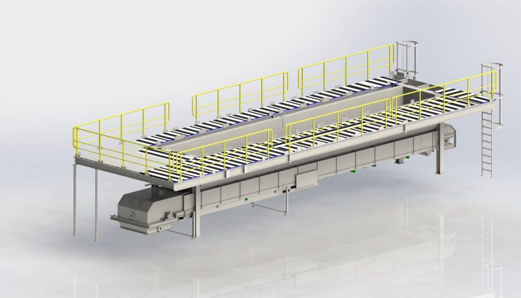 Filter press platforms incl. hopper and conveyor belt